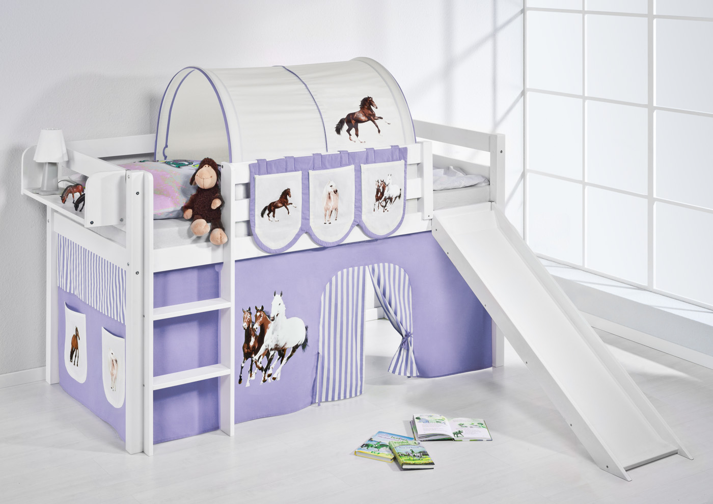 lit mezzanine avec chelle toboggan jelle blanc avec rideau lilokids ebay. Black Bedroom Furniture Sets. Home Design Ideas