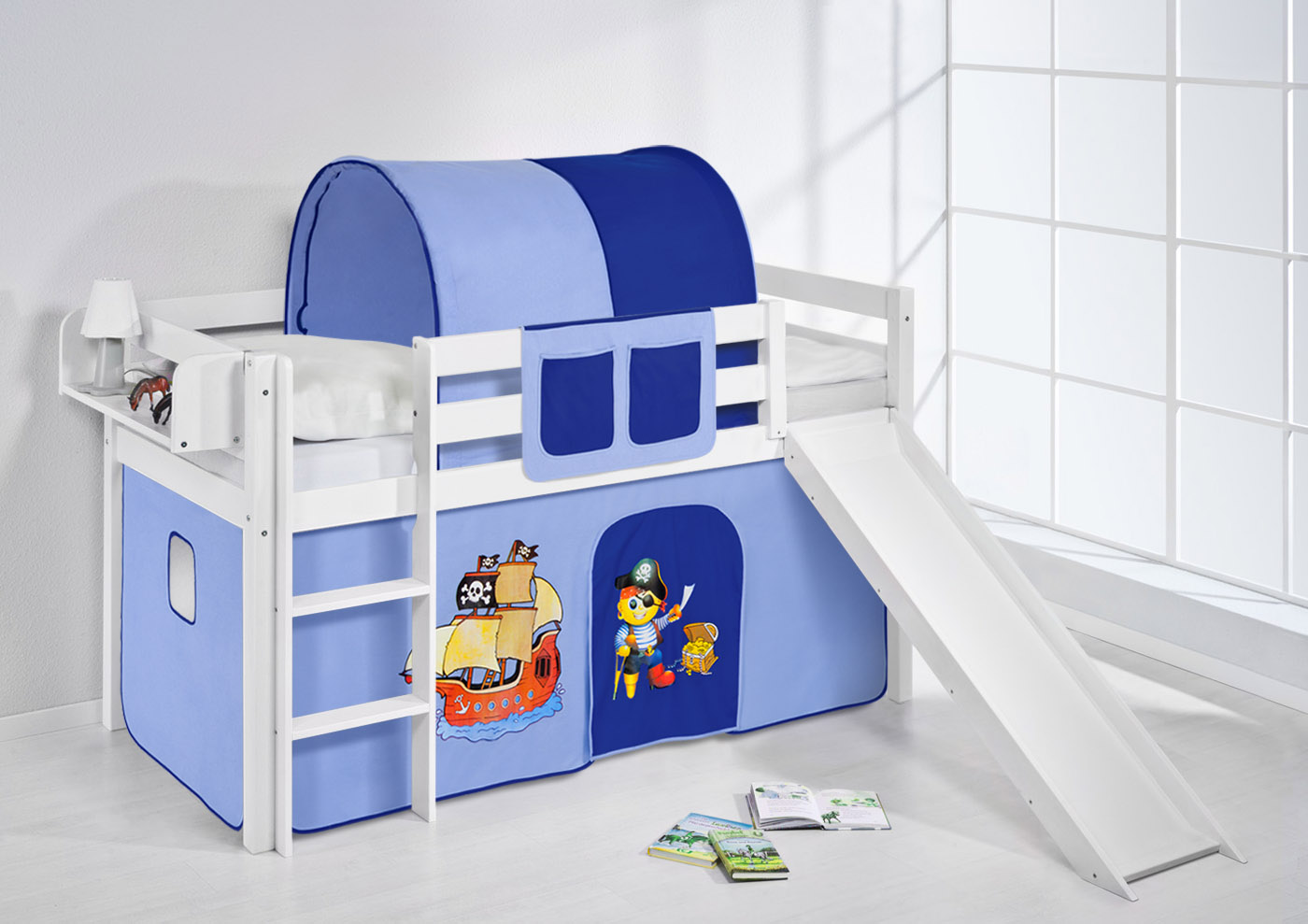 spielbett hochbett kinderbett kinder bett jelle mit rutsche 190x90 cm vorhang ebay. Black Bedroom Furniture Sets. Home Design Ideas