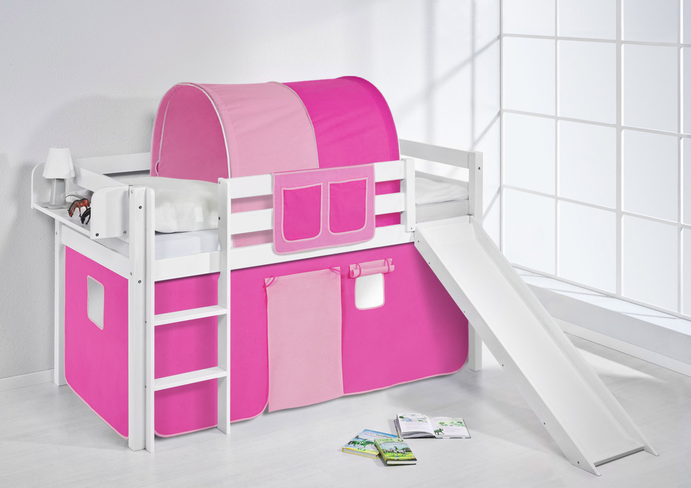Spielbett Hochbett Kinderbett Kinder Bett JELLE mit Rutsche + Vorhang