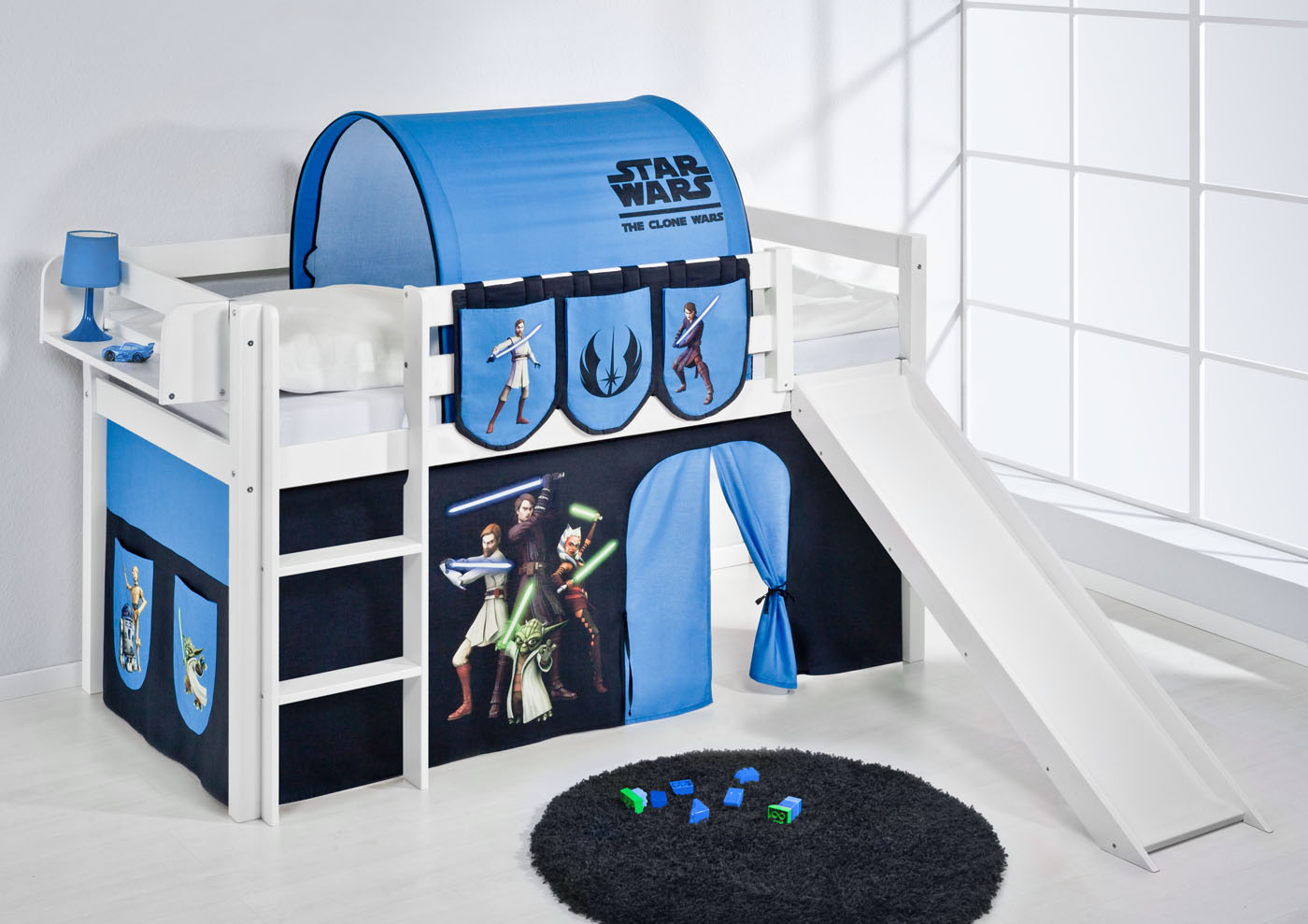 lit mezzanine avec chelle toboggan jelle blanc avec rideau lilokids ebay. Black Bedroom Furniture Sets. Home Design Ideas