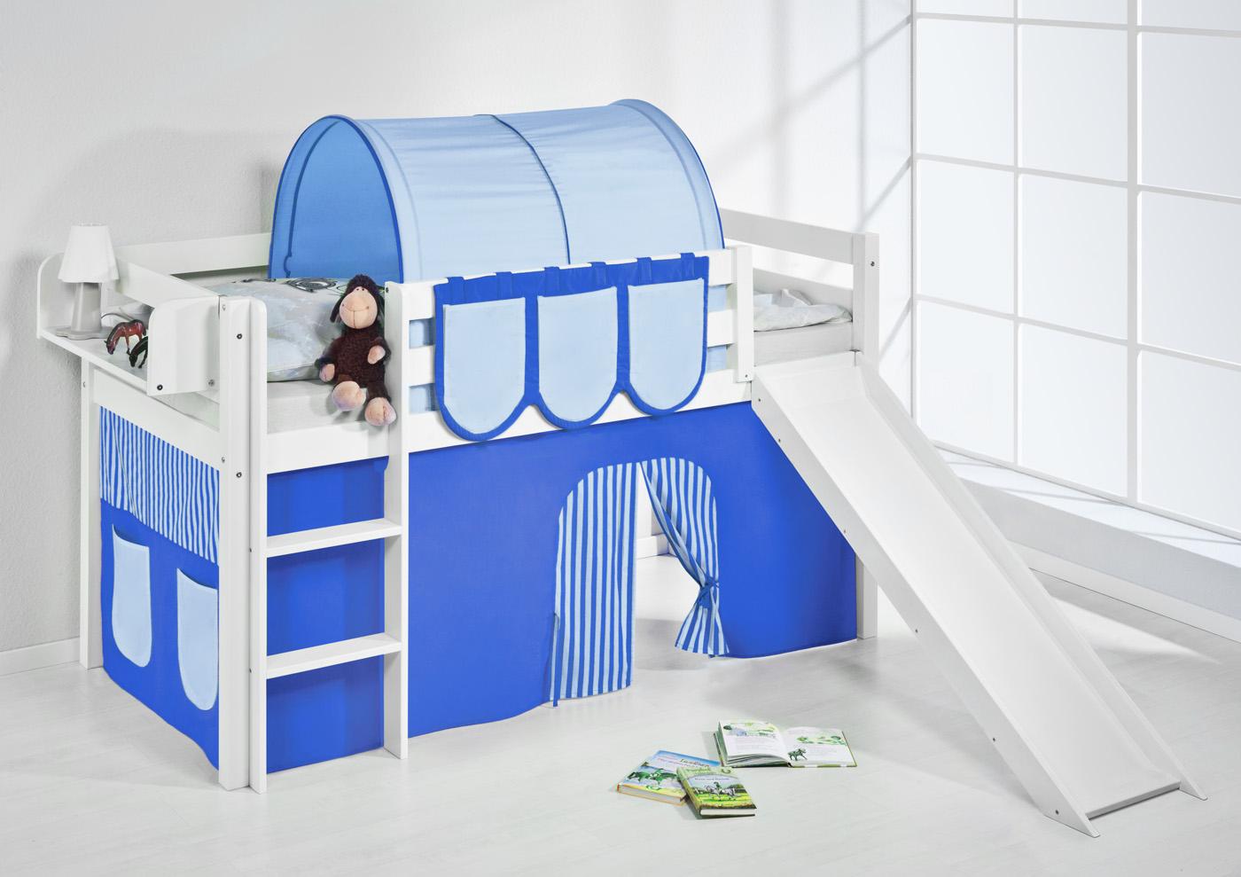 lit mezzanine avec chelle toboggan jelle blanc avec. Black Bedroom Furniture Sets. Home Design Ideas