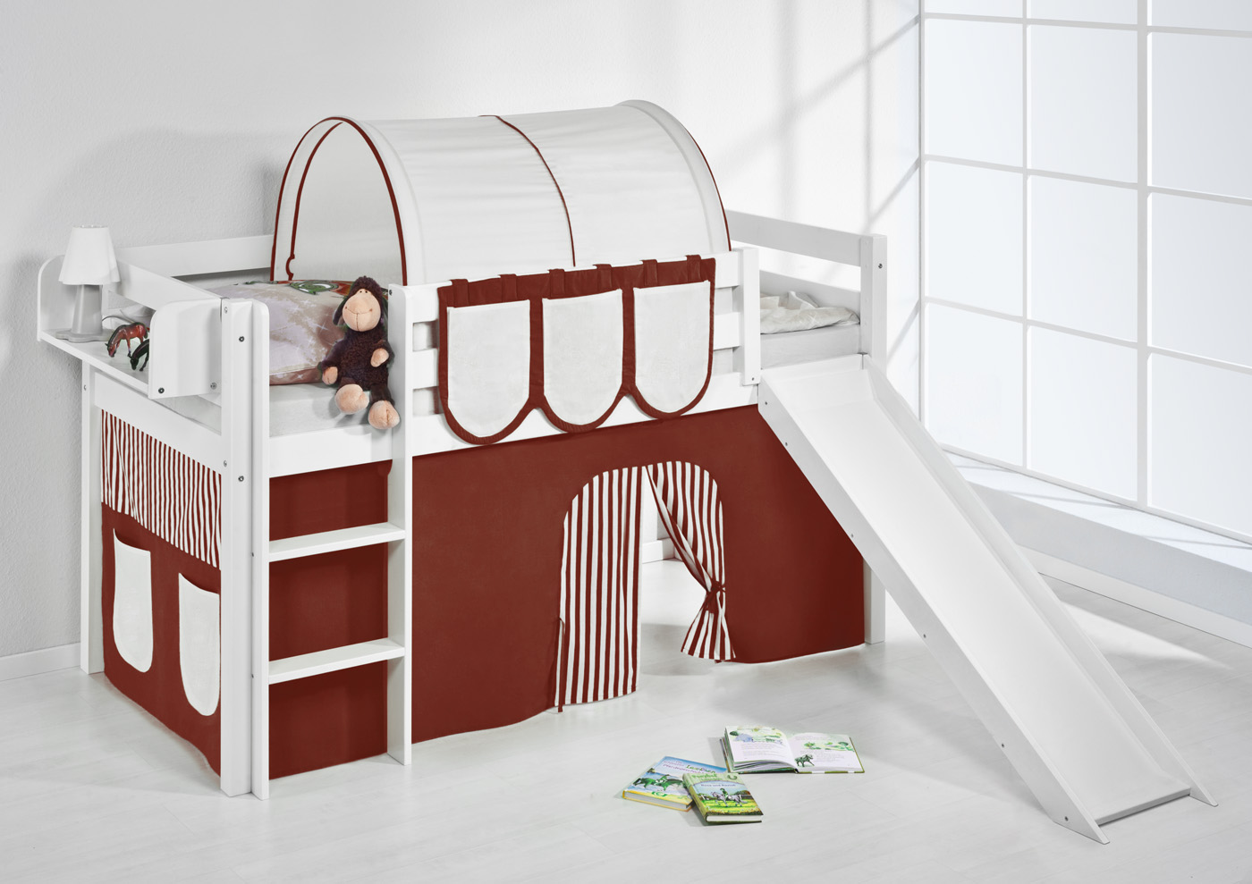spielbett hochbett kinderbett jelle 190x90 weiss mit rutsche lilokids ebay. Black Bedroom Furniture Sets. Home Design Ideas