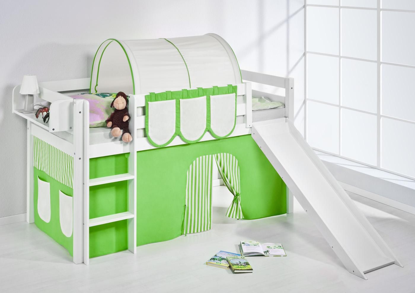 spielbett hochbett kinderbett kinder bett jelle mit rutsche vorhang ebay. Black Bedroom Furniture Sets. Home Design Ideas