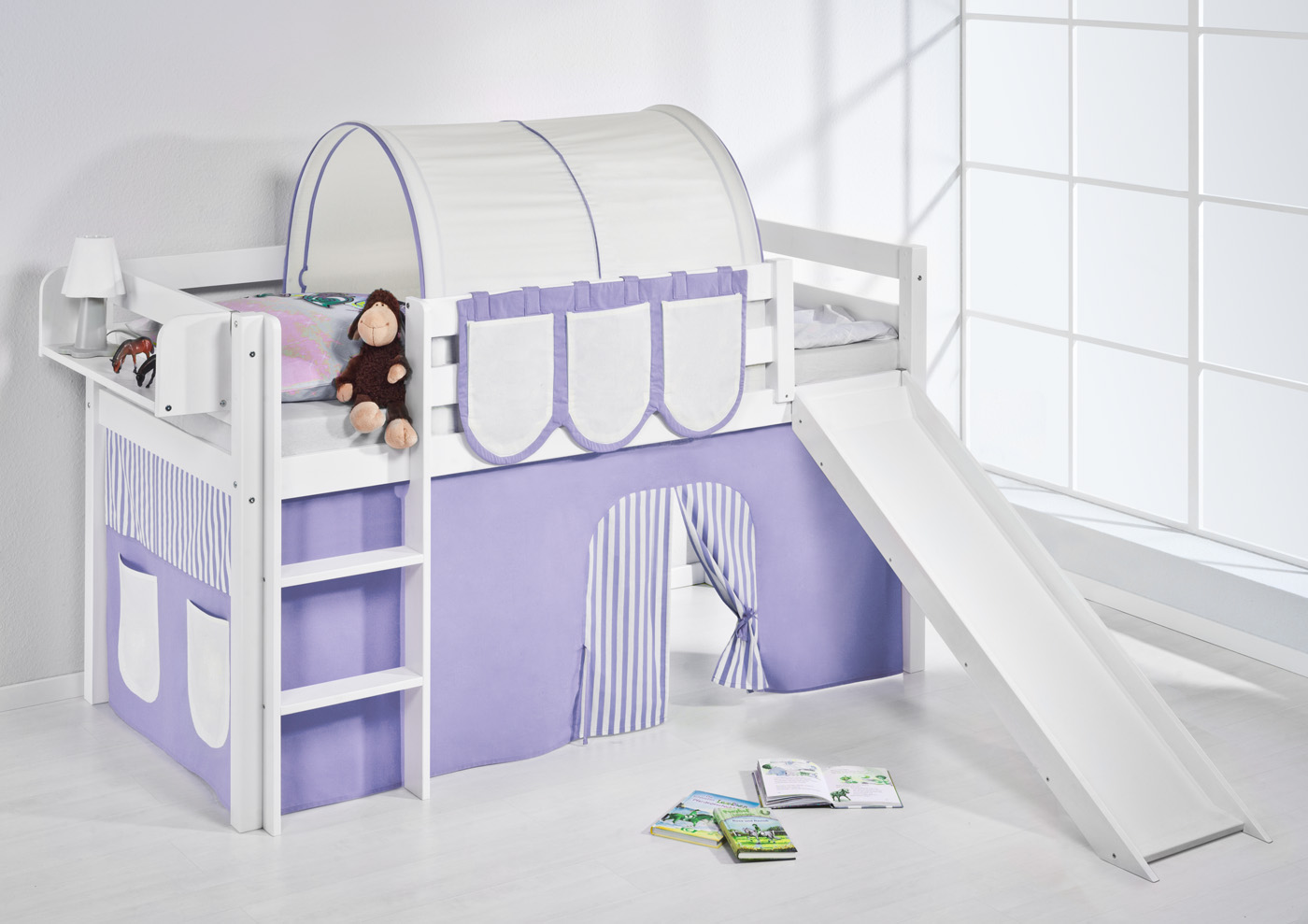 spielbett hochbett kinderbett jelle 190x90 weiss mit. Black Bedroom Furniture Sets. Home Design Ideas